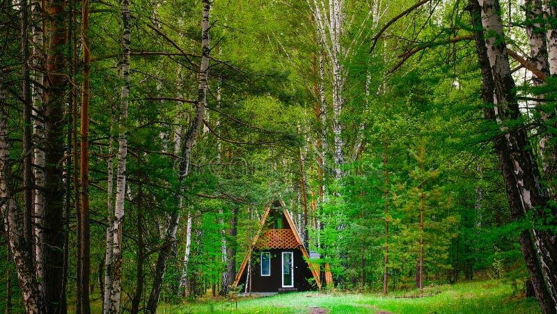 Eenzaam plattelandshuisje in een comfortabel bos royalty-vrije stock afbeelding