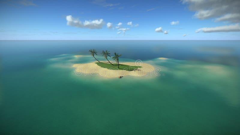 Eenzaam tropisch eiland in de zomer stock illustratie