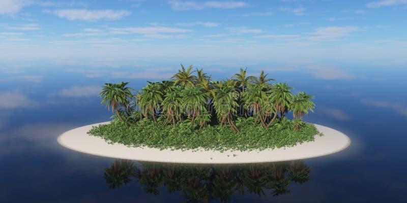 Eenzaam tropisch eiland met palmen royalty-vrije stock afbeelding