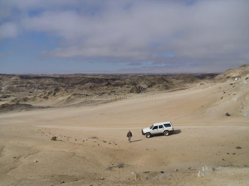 Eenzame bestuurder in de woestijn stock foto