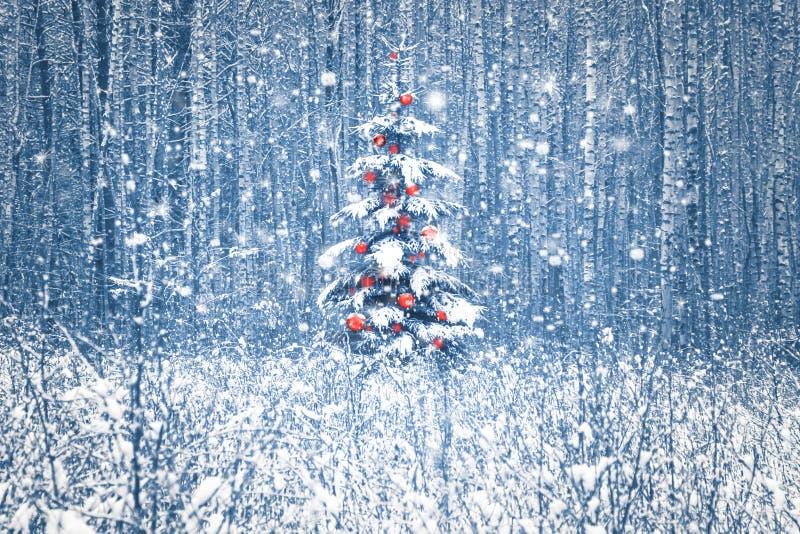 Eenzame blauwe sparren met rode Kerstmisdecoratie in een sneeuw de winterbos stock afbeelding