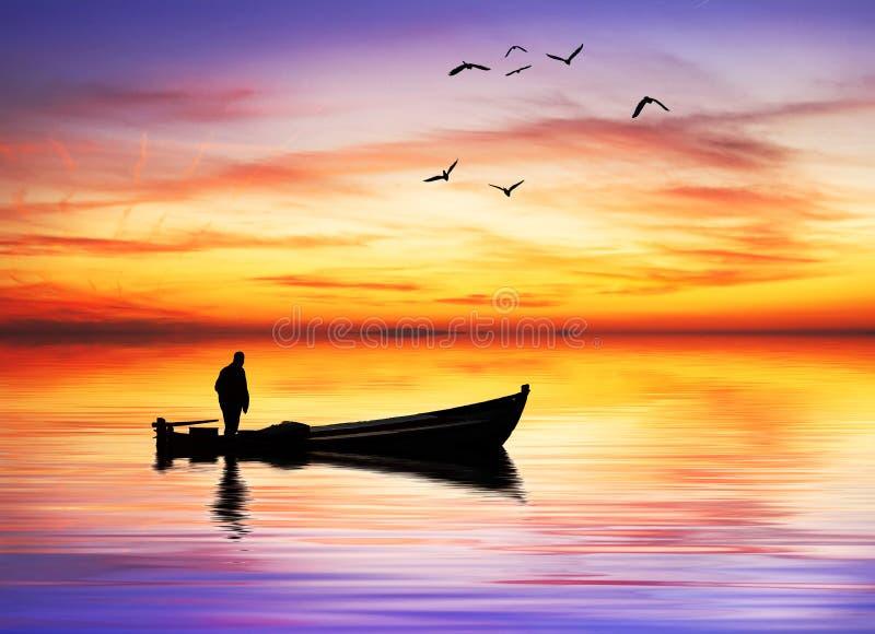 Eenzame boatman royalty-vrije stock foto's