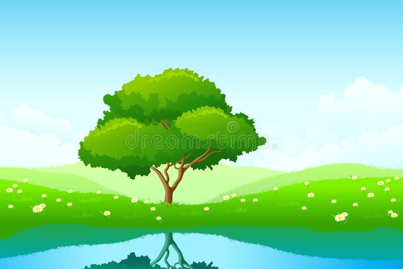 Eenzame boom royalty-vrije illustratie