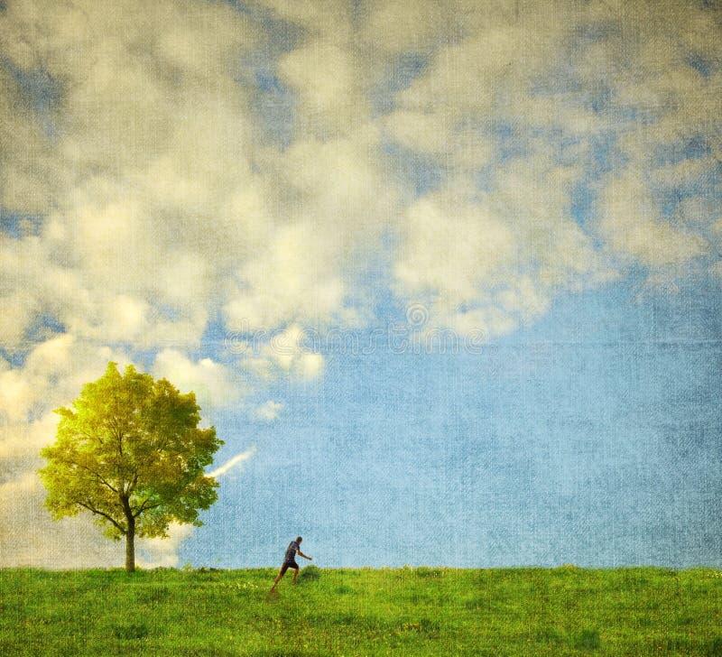 Eenzame boom met het menselijke cijfer lopen vector illustratie