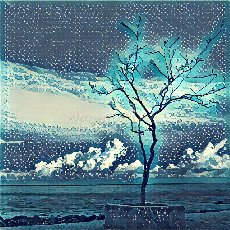 Eenzame boom op de overzeese kust Silhouet van futloze boom op het strand stock illustratie