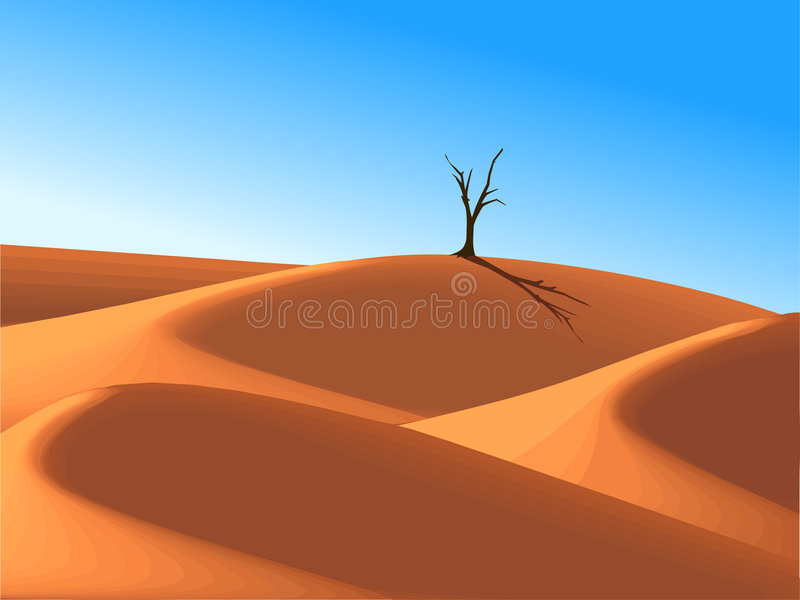 Eenzame boom in woestijnduin vector illustratie