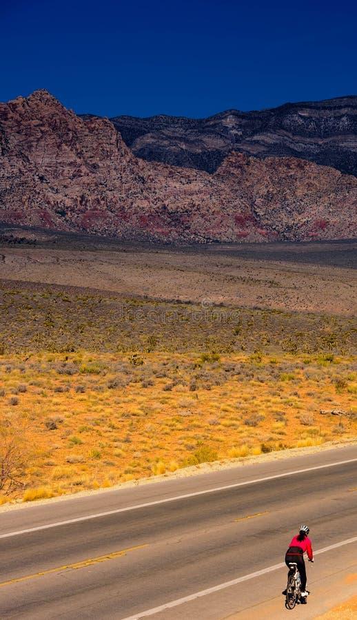 Eenzame Fietser bij Rode Rots Caynon, Nevada royalty-vrije stock foto