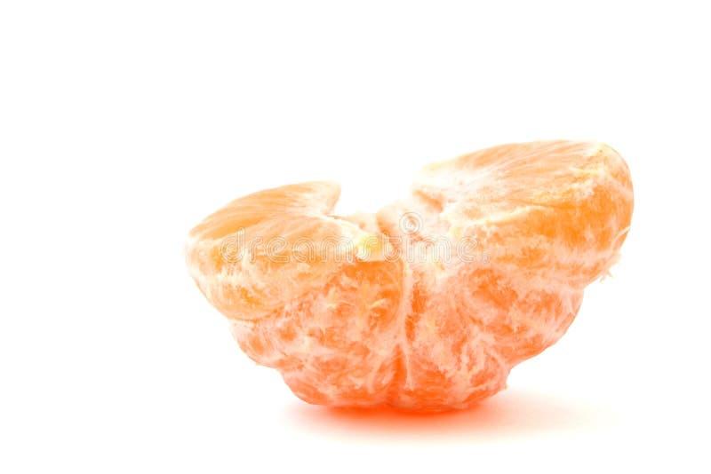 Eenzame gepelde mandarijn op wit royalty-vrije stock afbeeldingen