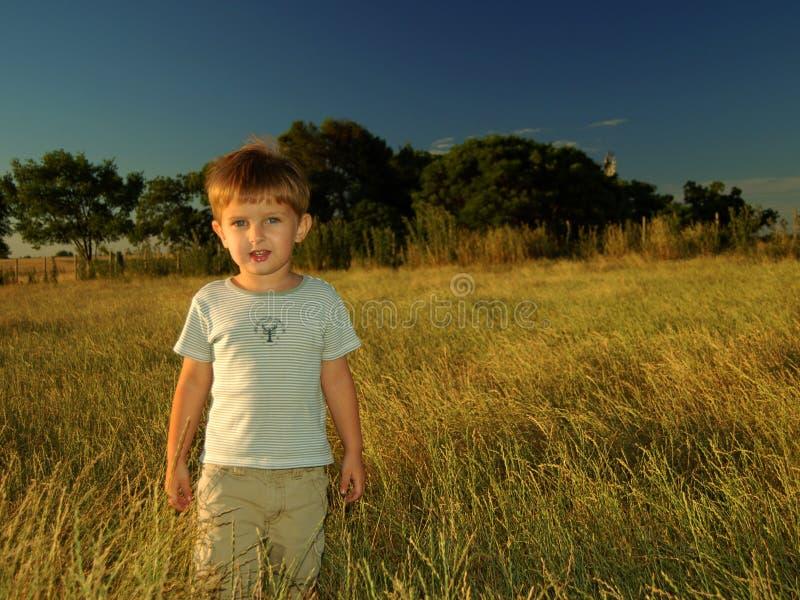 Eenzame jongen op het gebied stock foto