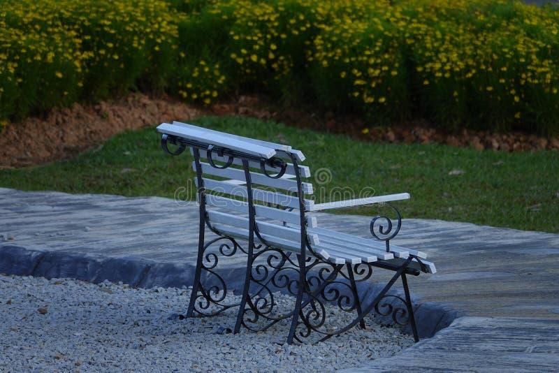 Eenzame lege bank in openbaar park voor rust stock foto
