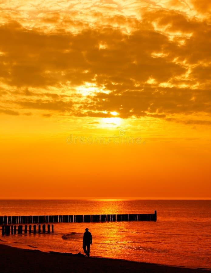 Eenzame mens die op het strand loopt stock afbeeldingen