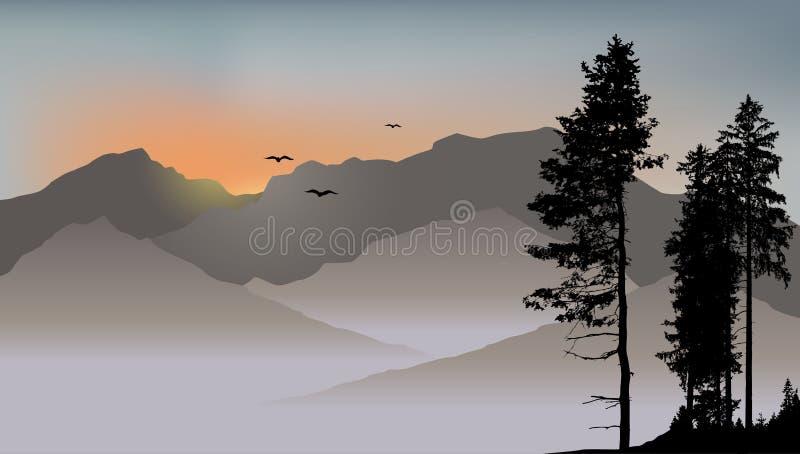 Eenzame pijnboom op de bergenachtergrond met vliegende vogels royalty-vrije illustratie