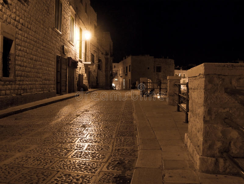 Eenzame 's nachts Steeg. Giovinazzo. Apulia. royalty-vrije stock afbeeldingen