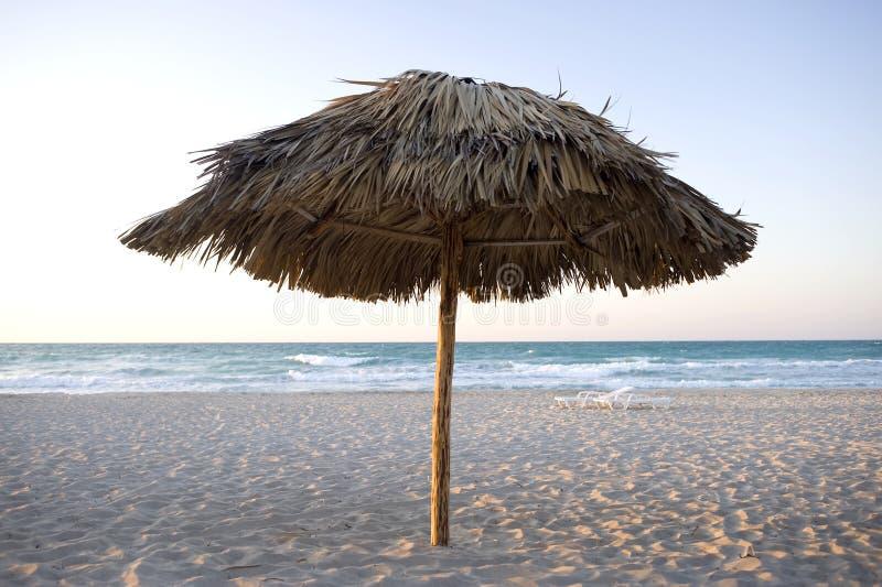 Eenzame strandumbrealla - Varadero, Cuba stock afbeeldingen