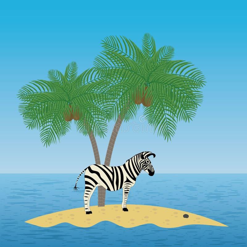 Eenzame zebra op het eiland met een palm royalty-vrije illustratie