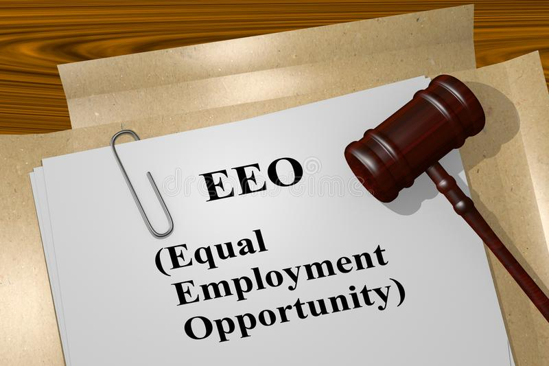 EEO - Equal Employment Opportunity concept. 3D illustration of EEO (Equal Employment Opportunity) title on legal document stock illustration
