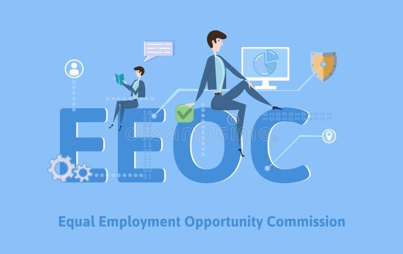 EEOC,相等的工作机会委员会 与主题词、信件和象的概念桌 色的平的传染媒介 向量例证