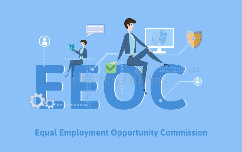 EEOC, Equal Employment Opportunity Commission. Concept table with keywords, letters and icons. Colored flat vector. EEOC, Equal Employment Opportunity Commission vector illustration