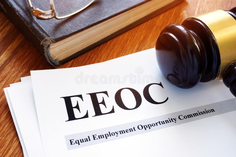 EEOC equal employment opportunity commission report. EEOC equal employment opportunity commission report and gavel royalty free stock photography