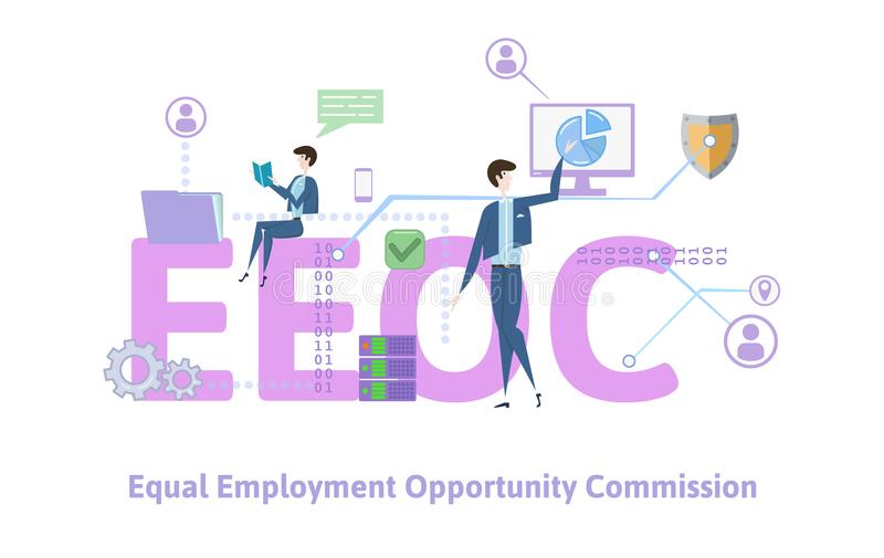 EEOC, la Commission égale d'offre d'emploi Table de concept avec des mots-clés, des lettres et des icônes Vecteur plat coloré illustration libre de droits