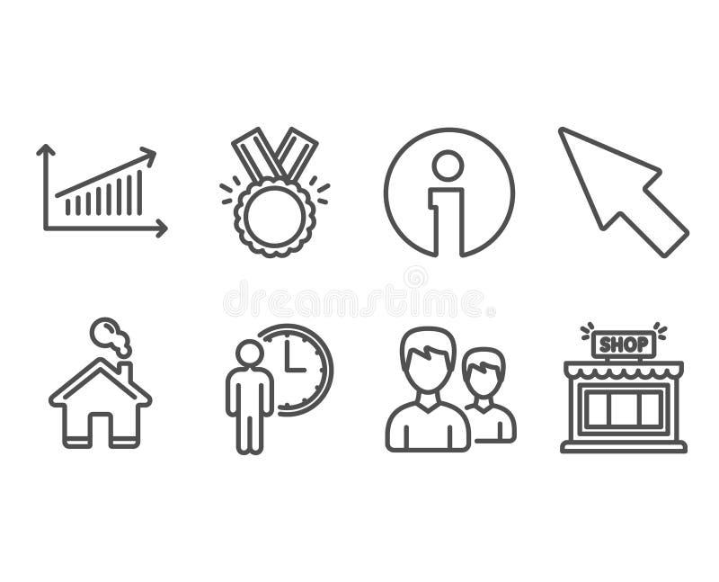 Eer, Grafiek en het Wachten pictogrammen Paar, Muiscurseur en Winkeltekens Medaille, Presentatiegrafiek, de Diensttijd stock illustratie