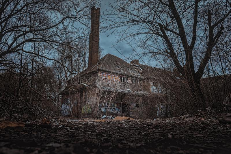 Eerie abandoned building stock images
