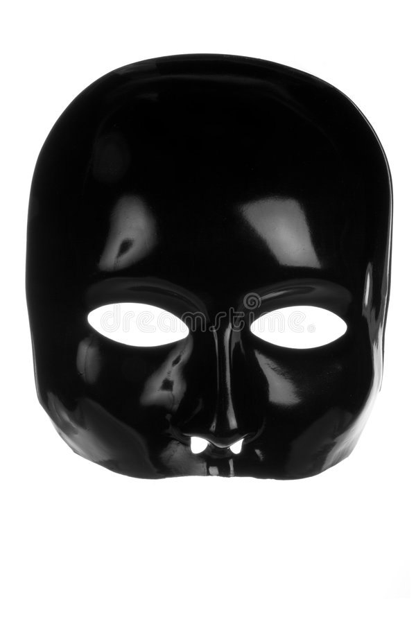 Eerie Black Face Mask. Isolated on white background royalty free stock image