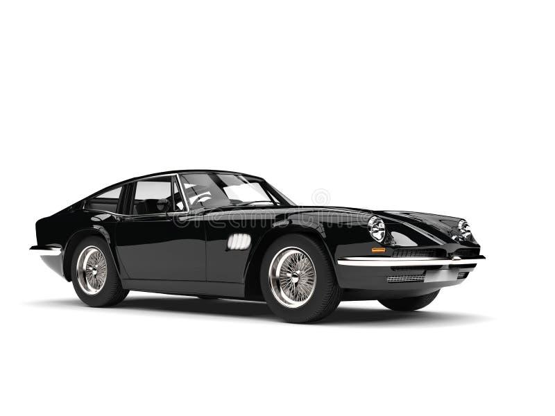 Eerie black vintage race car - beauty shot stock illustration