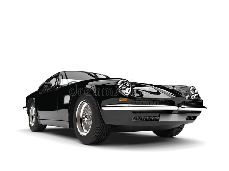Eerie black vintage race car - front view closeup shot royalty free illustration