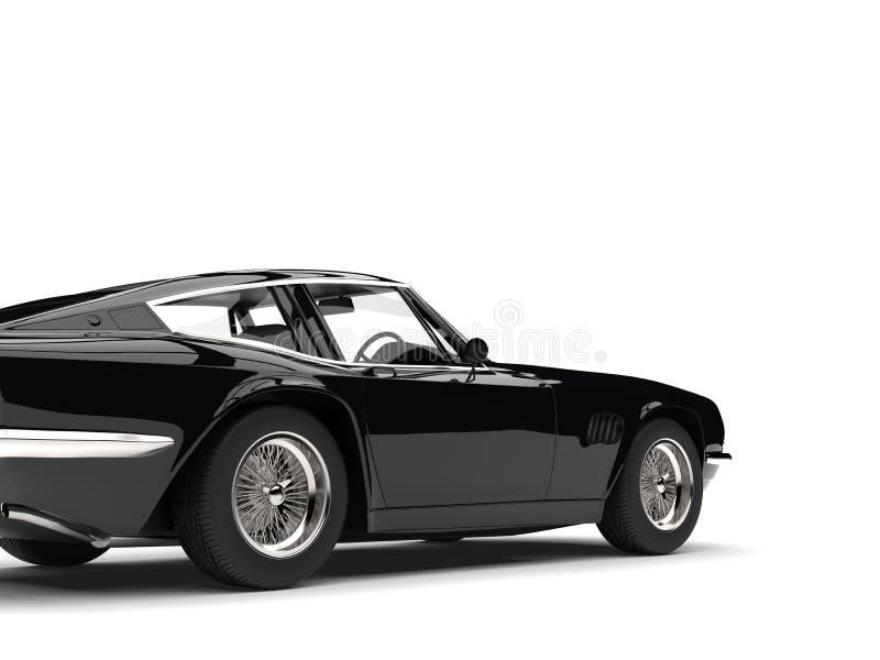 Eerie black vintage race car - rear view cut shot royalty free illustration