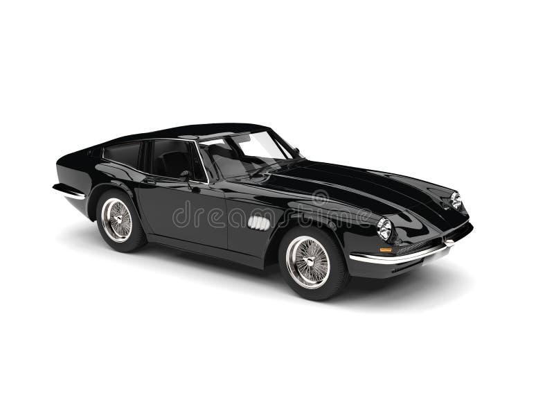 Eerie black vintage race car - studio shot vector illustration