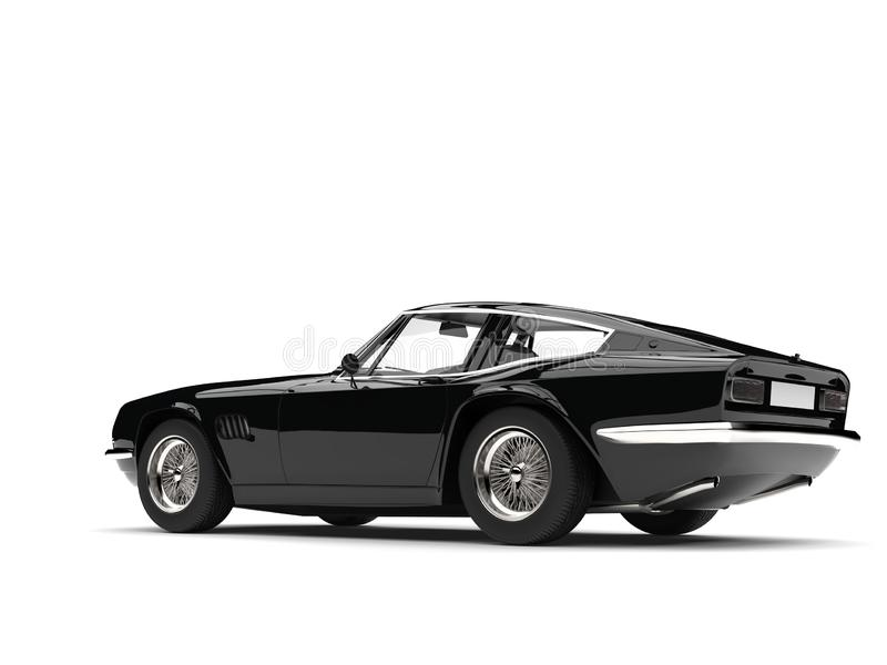 Eerie black vintage race car - tail side view vector illustration