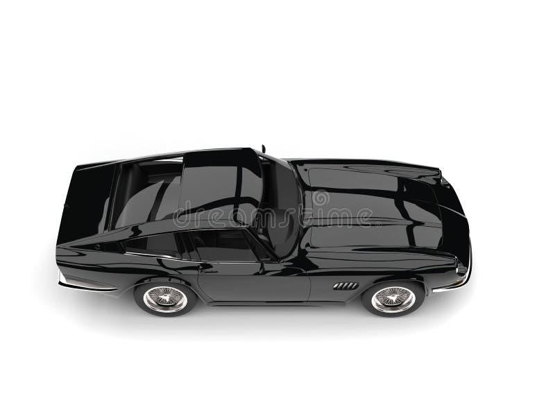 Eerie black vintage race car - top down side view royalty free illustration
