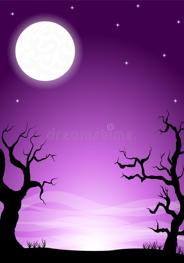 Eerie halloween night background with a full moon. Vector illustration of an eerie halloween night background with a full moon stock illustration