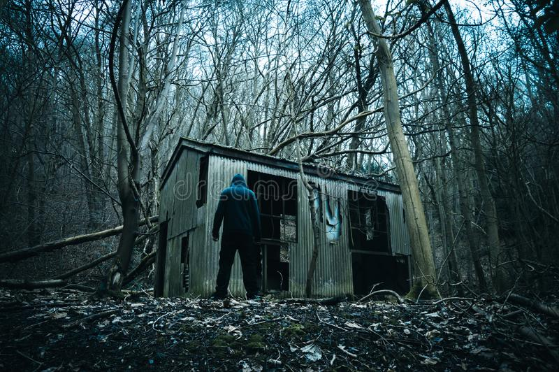 An eerie spooky hooded figure standing by a ruined hut in a forest in winter. With a dark moody edit. royalty free stock image