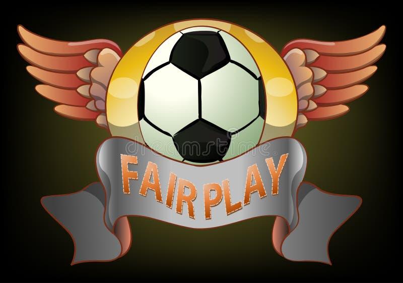 Eerlijk het spelkenteken van de voetbal op donkere achtergrond royalty-vrije illustratie