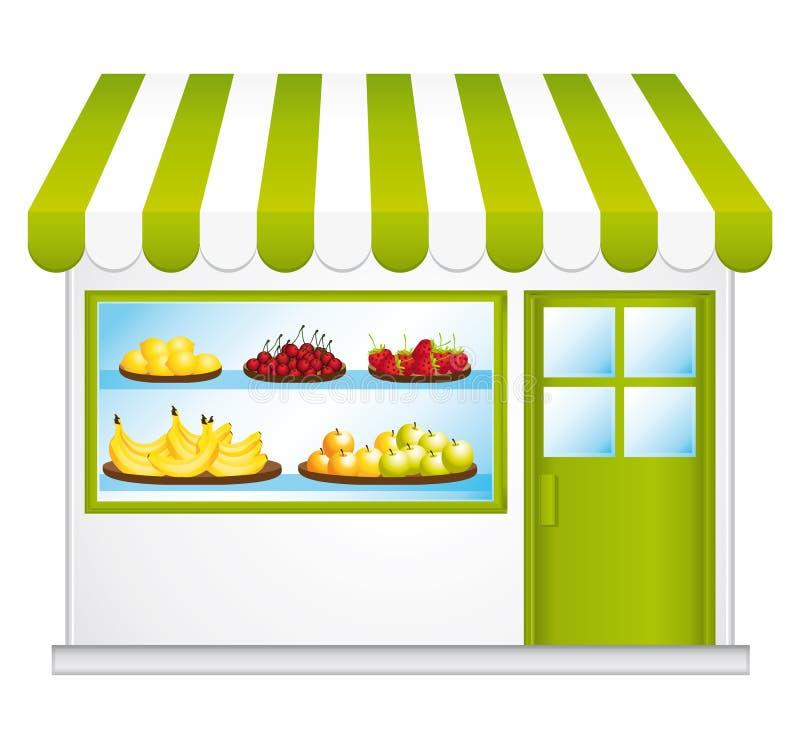 Eerlijke handelskruidenierswinkel. Landbouwvruchten en groenten. stock illustratie