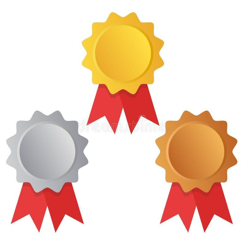 Eerst, tweede en derde plaats Toekenningsmedailles Geplaatst die op wit met linten worden geïsoleerd Vector illustratie stock illustratie