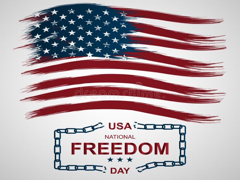 Eerst van Nationale de Vrijheidsdag van Februari in de Verenigde Staten Illustratie met Amerikaan vlag en gebroken kettingen stock illustratie