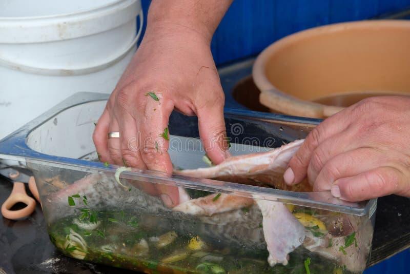 Eerst zouden de vissen de marinade moeten doorweken stock afbeelding
