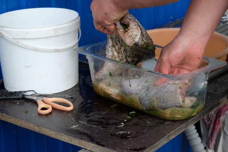 Eerst zouden de vissen de marinade moeten doorweken stock afbeeldingen