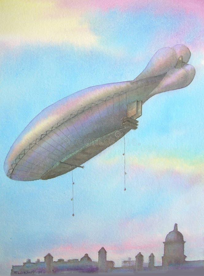Eerste AirDirigible over Londen stock afbeeldingen