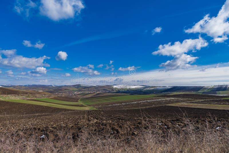 Eerste dag van de lentelandschap stock fotografie