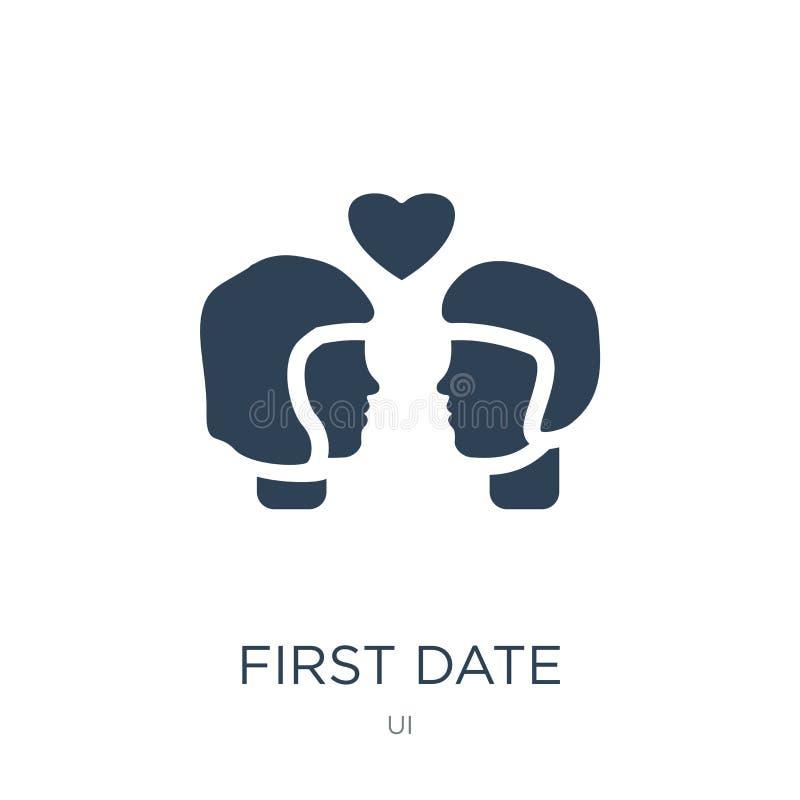 eerste datumpictogram in in ontwerpstijl eerste datumpictogram op witte achtergrond wordt geïsoleerd die eerste eenvoudig en mode stock illustratie