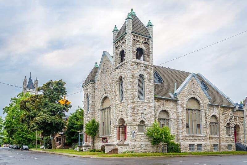 Eerste Doopsgezinde kerk in de straten van Kingston - Canada royalty-vrije stock afbeeldingen