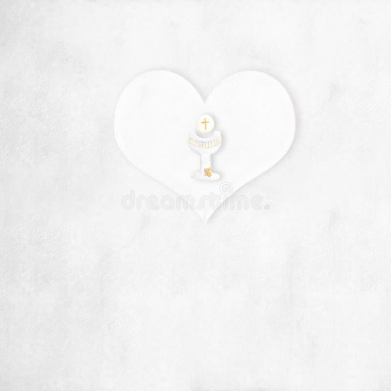 Eerste Heilige Communiehart en kelkachtergrond stock illustratie