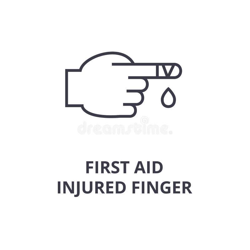 Eerste hulp, het verwonde pictogram van de vingerlijn, overzichtsteken, lineair symbool, vector, vlakke illustratie stock illustratie