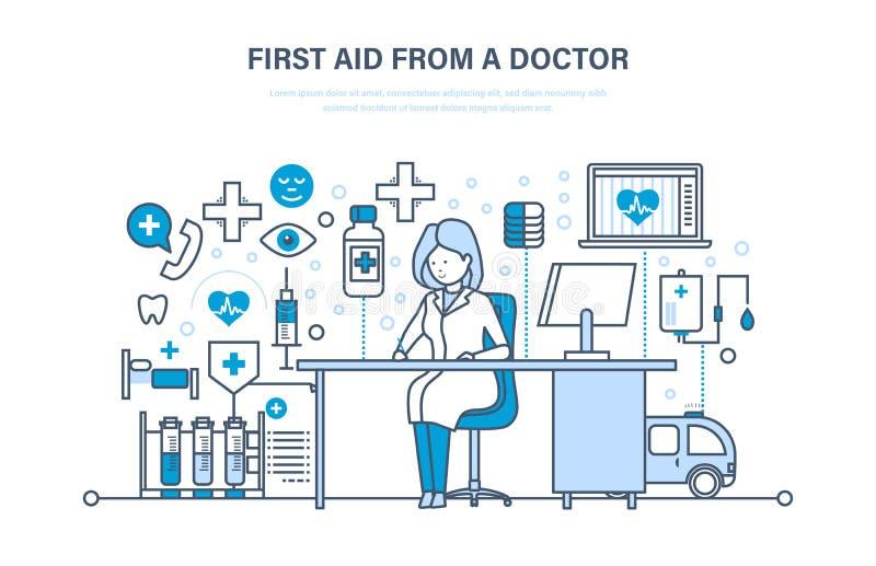 Eerste hulp van arts, moderne geneeskunde, medische behandeling, gezondheidszorg, verzekering vector illustratie