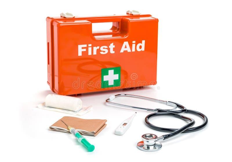 Eerste hulpuitrusting met medische producten royalty-vrije stock afbeelding