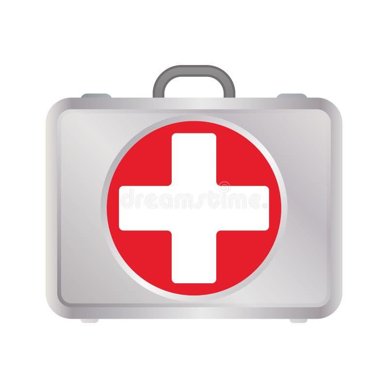 Eerste hulpuitrusting in zilveren metallkleur met rood kruis Vlakke pictogram van het eerste hulp het medische teken voor app en  royalty-vrije illustratie